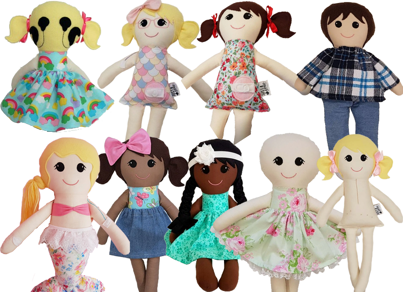 2 rows of hand made fabric dolls in various skintones.  Some doll have legs, some are clothed, some not, one hs a mermaid tail.  Some of the dolls have fabric versions of feeding tube ports, hearing aids, scars and other medical items.