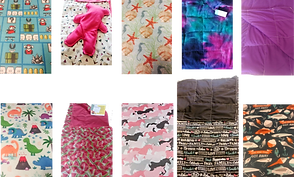 2 Rows of fabric and blanket samples in varius patterns and colors