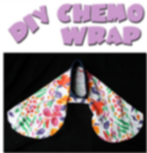 "A floral head cap above which in cartoony letters reads, ""DIY Chemo Wrap."""