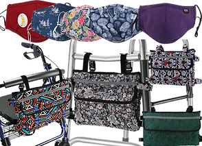 5 surgical masks in different color and patterns. The one on the far left has a filter in it. Below are 4 walker bags in different colors, patterns, and sizes