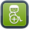 WheelMap Logo, Blue-bordered green square with white stylized person in a wheelchair.