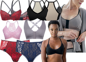4 Bras in different styles (2 showing the backs as well), A black per in  black bra, a white woman in a gray bra and underwear with a gray robe, putting a drain bulb in a matching drain belt.  2 pairs of lacy underwear, one red and black, one blue and white.