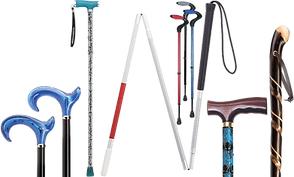 A range of canes and cane heads in varying colors and styles. Including a folding cane for the visually impaired.