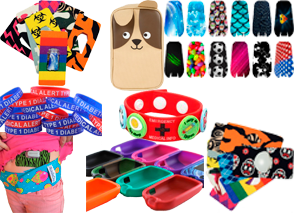 Various patterned covers and decals for different diabetic insulin pods and meters, a dog shaped diabetic supply case, platic diabetes awareness bracelets, and a patterned pouch around a chld's waist for holding pumps.