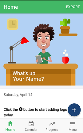 "Screenshot of Updoc App, under a green Home header is a cartoon of a person with short curly hair behind a desk. White text on the desk's front reads, ""What's Up Your Name?""  Below is a white section with gray text reading, ""Saturday April 14"" and black text reading, ""Click the + button to start adding logs today.""  At the bottom is a menu bar with options for home, calendar, progress and menu."