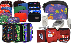 a batch of patterned diabetic cases in varying sizes and patterns.  One floral case with supplies laid in front to showcase what it will hold, and another red bag opened to show supplies in situ.