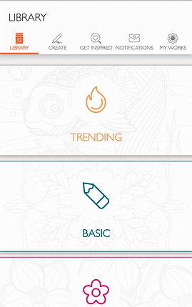 """Screenshot of ColorFy App, a white screen with """"Library"""" in black at the top left.  A menu bar with """"library"""" in orange also includes """"Create, Get Inspired, Notifications,"""" and """"My Works"""" all in gray text.  There are 2 visible sections for """"Trending"""" with a line drawing of a flame and """"Basic"""" with a line drawing of a pencil, and a partially visible section with a pink line drawing of a flower."""