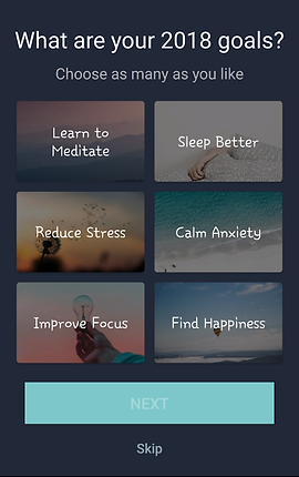 """Screenshot of Simple Habit Meditation App, A black screen with white text at the top reading, """"What are your 2018 goals? Choose as many as you like.""""  Buttons below offer choices, """"Learn to Meditate, Sleep Better, Reduce Stress, Calm Anxiety, Improve Focus,"""" and """"Find Happiness"""""""