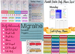 Sticker sets for tracking migrains, pain, hydration, mood and more