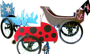 3 wheelchairs decorated with costumes, one for an ice queen, one as a ladybug, and a third as a pirate ship.  All 3 costumes are built around a wheelchair.