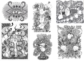 6 intricate black and white prints with ASL signs and letters as their centers.