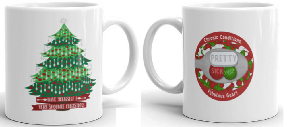 "The front and back of a white coffee mug.  The front has a 2-tone green christmas tree decorated with red ornaments and strings of silver spoons.  A banner at the bottom reads, ""Have Yourself a Very Spoonie Christmas"""