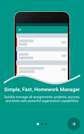 "Screenshot of Egenda App, a green screen with an illustration of a smartphone over most of it.  Below the illustration, white text reads, ""Simple, Fast, Homework Manager.  Quickly manage all assignments, projects, quizzes and tests with powerful organization capabilities."""