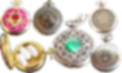 4 silver toned wristwatches shown closed.  One has a filigree design with green tiger-eye stone in the center, one has a wiccan design, one a jedi design, and the other a dragon design.  There is also a gold-toned pocketwatch shwon closed and open.  The closed version has a sailor moon design on the front, and the interior shows three medium sized oblong white pills inside.
