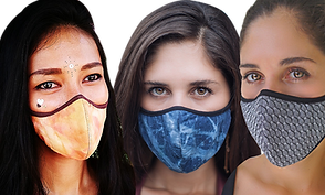 3 masks, modeled by women.  The first mask is soft oranges and yellows with brown border, the middle is an abstract design in various blues, and the third is a check or herringbone style pattern.