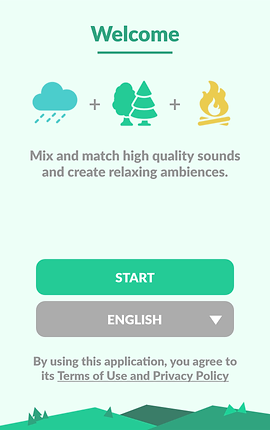 """Screenshot of Sleepo App, a white screen with Welcome in green text at the top. Icons of a rain cloud, forest, and fire are followed by black text reading, """"Mix and match high quality sounds and create relaxing ambiences""""  Two buttons allow user to """"start"""" or select their preferred language."""