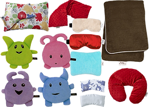 A pillow and eye mask set in a ilky floral fabric, a red minky hot/cold neck wrap, one red silky and one cream soft eye masks, a long large body hot/cold pack, 2 silky eye pillows, a red minky neck pillow, and 4 small monster-stuffies that can be heated or cooled.