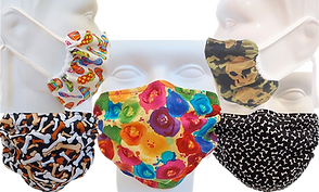 5 patterned dust masks.  One with colorful sandals, one with multicolored dog bones on black, one with multi-color flowers on a yellow background, a camo pattern with skulls, and one with white bones on a black background.