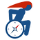 Handipressante Logo, a stylized wheelchair icon with a compss set in the wheel and the figure wearing a red pointed-back helmet