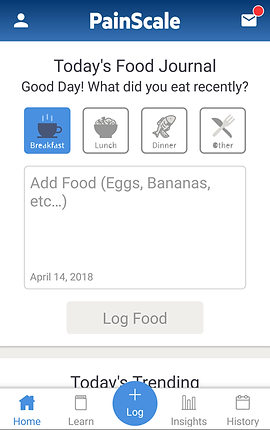 """Screenshot of Pain Scale App, a white screen with dark blue header that reads, """"PainScale"""" with a profile icon and mail icon in either corner.  In the white space is black text reading, """"Today's Food Journal.  Good Day! What did you eat recently?"""" There are 4 icons for """"Breakfast,"""" """"Lunch,"""" """"Dinner,"""" and """"Other"""".  The breakfast icon is lit in blue and there is an entry box below which reads, """"Add Food (Eggs, Bananas, etc…).  At the bottom of the box is the current date.  At the bottom of the screen is a menu bar with options for Home, Learn, Insights, History and Log."""