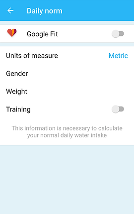 "Screenshot of My Water App, a white screen with thin blue header bar that reads, ""Daily norm"".  Text in the white section includes an option to link to Google Fit, a choice of Units of measure, and places to enter Gender, Weight and Training."