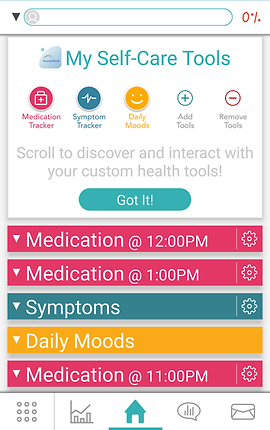 "Screenshot of Needy Meds App, a white screen with search bar at the top.  A section reading ""My Self-Care Tools"" includes icons for ""Medication tracker, Symptom Tracker, Daily Moods, Add Tools,"" and ""Remove Tools"".  Text reads, ""Scroll to discover and interact with your custom health tools!"" Below are condensed sections for ""Medication @ 12:00PM, Medication @1:00PM, Symptoms, Daily Moods,"" and ""Medication @11:00PM""  The bottom menu bar has options for trends, communication and sharing."