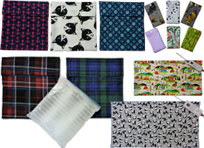 5 Square fold-over flap ice pack covers in varying prints, a set of 6 different fabric samples, and 2 different heating pad covers.