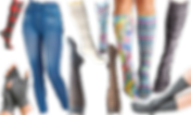 8 different knee high compression hose in varying patterns including red and green plaid, white and gray chevrons, leopard print, opaque blue paisley pattern, florals, and black and white paisley.  A pair of blue-jean styled compression leggings, gray toe-socks and gray fingerless compression gloves.