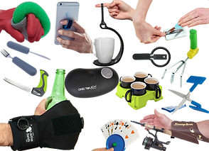 A rane of products meant to asist with task that involve gripping.  A special scrub brush for washing dishes, a no-spill carrying hook for a single mug, a carrier that holds four coffee mugs, a zipper pull, gardening tools, loop to help hold a cell phone, a glove meant to help hold a drink bottle, a wristband that holds a fishing pole, a disk that holds a hand of playing cards, scissor and a nail clipper that rest on a desk or tabletop.