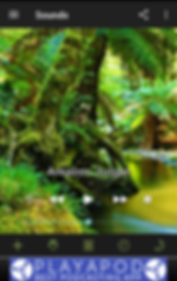 "Screenshot of White Noise App, a photo of a lush rainforest with black header and footer. Text over the image reads, ""Amazon Jungle"" with audio controls.  At the very bottom of the screen is a banner ad."