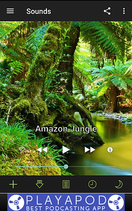 """Screenshot of White Noise App, a photo of a lush rainforest with black header and footer. Text over the image reads, """"Amazon Jungle"""" with audio controls.  At the very bottom of the screen is a banner ad."""