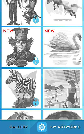 """Screenshot of Color by Number Puzzle App, a blue screen overlaid with white squares, each showcasing a different grayscale design to be colored.  The top 2 and lower two are partially visible. The central 4 squares include Johnny Depp as the Mad Hatter from Alice in Wonderland, a swan in water, a zebra, and a person in a one-piece swimsuit looking over a beach scene. The images in the left column have small blue padlock icons in their lower right corners. At the bottom of the screen is a blue menu bar with """"Gallery"""" printed in black, """"My Artworks"""" printed in white, and a settings button between the two"""
