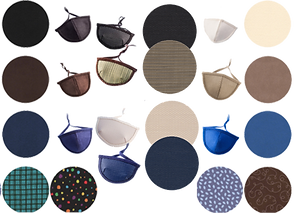 3 sets of eyepatch options and color/patten swatches