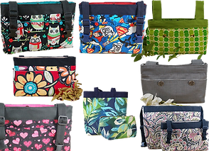 8 different bags designed to hang from a walker, or the back or side arm of a wheelchair or powerchair.  Each bag is in a different fabric pattern.