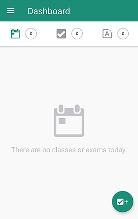 "Screenshot of MyStudyLife App, a white screen with green header.  There are options for a calendar, task list and new page.  Gray text reads, ""There are no classes or exams today."""