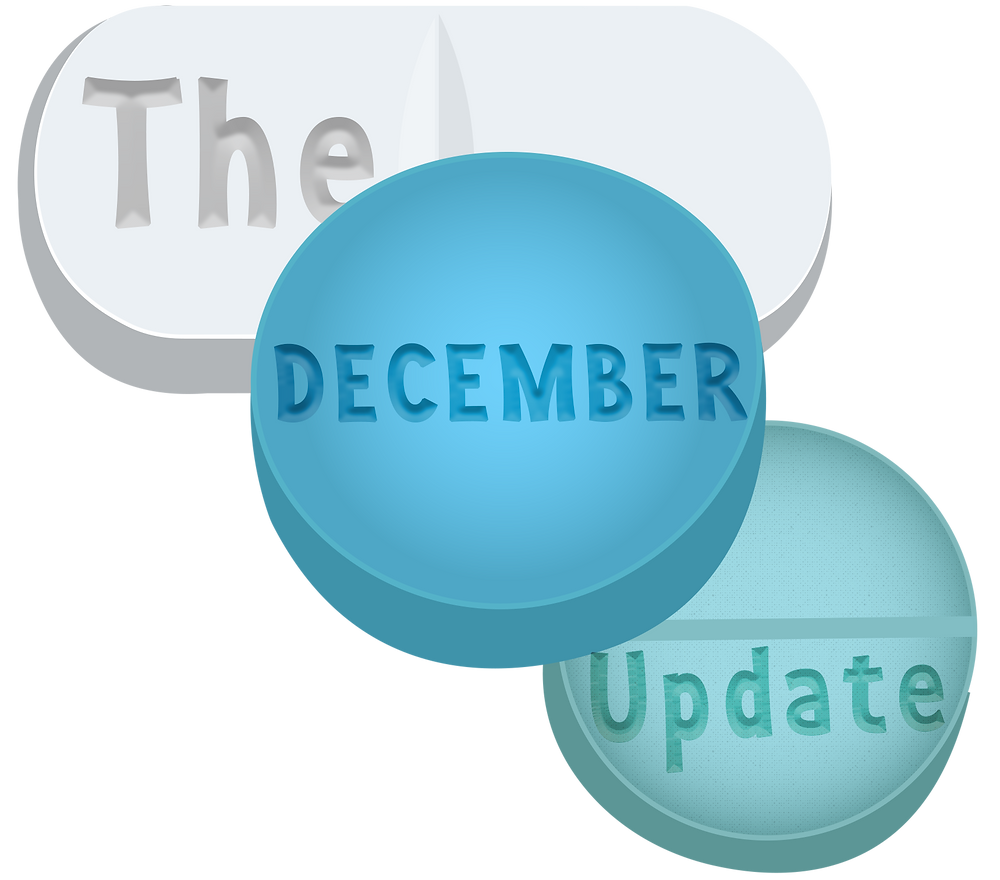 "3 Illustrated pills which read, ""The November Update"""
