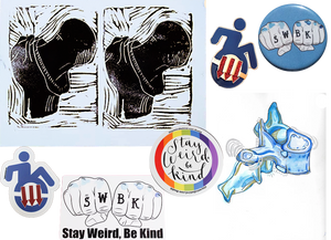 "A double print of a black and white drawing of a bone and joint, an enamel pin of a figure in a wheelchair- within the wheel are 3 red down pointing arrows, a round blue pin with two white fists. On the knuckles are the letters ""SWBK"", Stickers of the wheelchair figre and swbk fists, a round sticker wth a rainbow outline and text reading, ""Stay Weird be kind"", and a watercolor work of a vertebra"