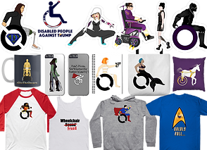 "Varius stickers, phone cases, tops, pillows, bags and mugs featuring a range of suprheroes and other icons illustrated to form the classic ""handicap"" symbol."