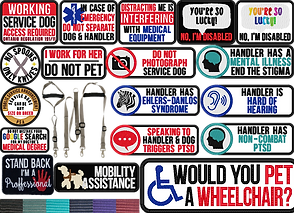 Multiple rows of embroidered patches in different colors.  They have a wide rane of instruction and statements relevant to using a service dog.  At the bottom is a small swatch of color opions, and amongst the patches s a tan leash sysem designed specifically or service animal handlers.
