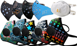 4 soft, 2-layer masks in black, 2 different camo patterns, and a light blue color with a gray layer visible below cutouts in the top section.  A white filtered mask.  And a row of 5 colorful patterned filtered masks.