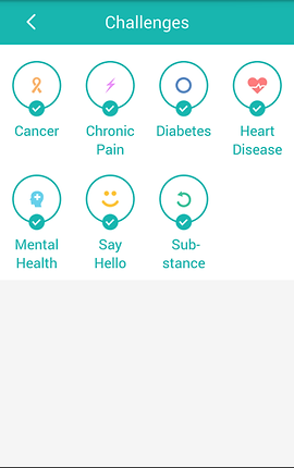 "Screenshot of ReachOut App, a white screen with green header reading, ""Challenges.""  There are 7 circles with different categories to explore. ""Cancer, Chronic Pain, Diabetes, Heart Disease, Mental health, Say Hello,"" and ""substance"