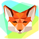 Color by Number Puzzle Logo, an illustrated fox's head colored in various polygons of color on a muti-color background