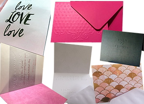 6 folded greeting cards.  Each is open or closed to reveal braille messages.  One also has love LOVE love on the cover in print,another has a memaid scale pattern, another is  commercially produced card with a specially printed clear overlay printed in braille.