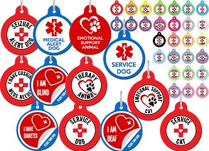 "12 different round red and white or blue, red and white tags for animal collars.  They read (left to right, top to bottom): ""Seizure Alert Dog,"" ""Medical Alert Dog,"" ""Emotional Support Animal,"" ""I have Cushings, Meds Needed,"" ""I am Blind, please turn over,"" ""Therapy Animal,"" ""Service Dog,"" ""I have Diabetes,"" ""Service Dog,"" ""I am Deaf,"" ""Emotional Support Cat,"" and ""Service Cat.""  At the top right corner are 6 rows of the same tags but showing the many color options available."