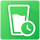 Water Drink Reminder Logo, a white water glass with small simplified clock next to it on a bright green background