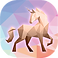 Color by Number Poly Art Logo, an illustrated horse on multicolord pink and blue background, the color chunks are various polygon shapes