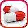 Pill Reminder Logo, red and white capsules on a white square background with red border