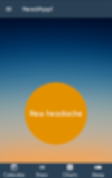 "Screenshot of HeadApp App, a sunset style gradient with blue header that has a navigation icon and the app's name.  Towards the bottom of the screen is an large orange circle with white text, ""New Headache.""  There is a footer bar with white icons for ""Calendar,"" ""Diary,"" ""Charts,"" and ""Sleep."""