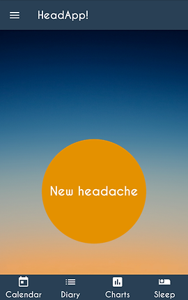 """Screenshot of HeadApp App, a sunset style gradient with blue header that has a navigation icon and the app's name.  Towards the bottom of the screen is an large orange circle with white text, """"New Headache.""""  There is a footer bar with white icons for """"Calendar,"""" """"Diary,"""" """"Charts,"""" and """"Sleep."""""""