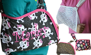 "An arm sling that's black with pink trim and a ""girlie"" skull theme.  The sling has been embroidered with the name Marley.  Next to it is another sling worn over a pink shirt.  The sling is white with a lacy design that is partially see through. Below it are two smaller photos of empty slings- one leopard print with pink trim, and another with multi colored cartoon owls."